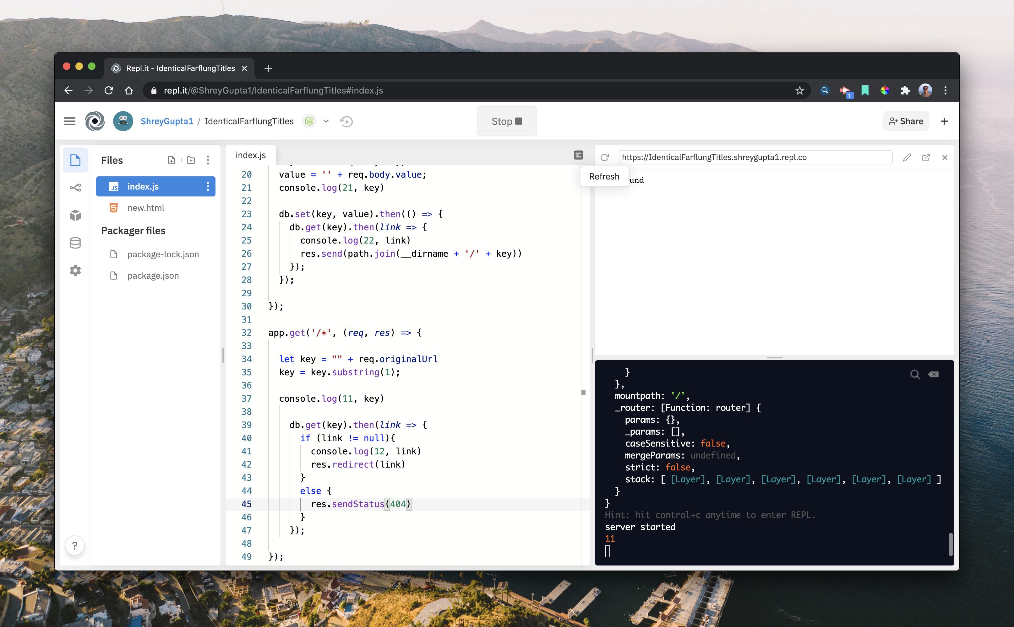 Window of the code saying 404 error
